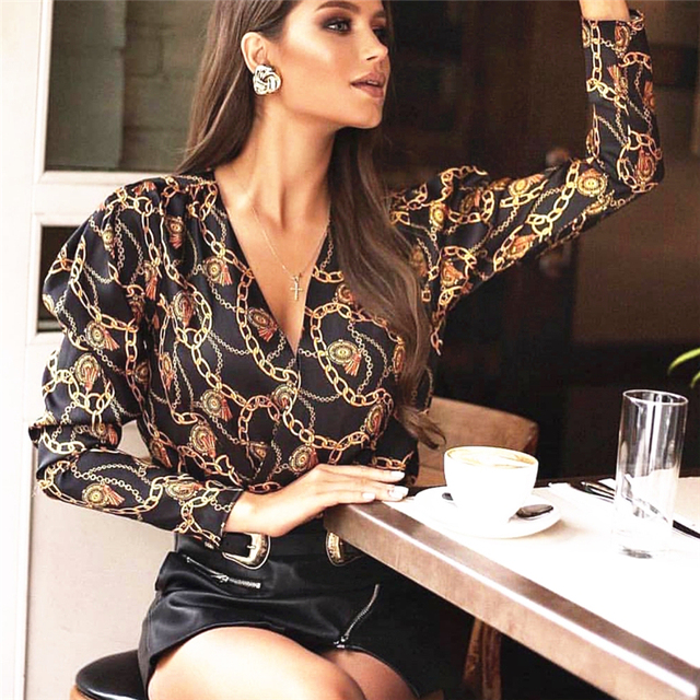 new fashion women password chain printed vintage blouse shirts female vogue high street criss-cross v neck blouses tops shirt 2