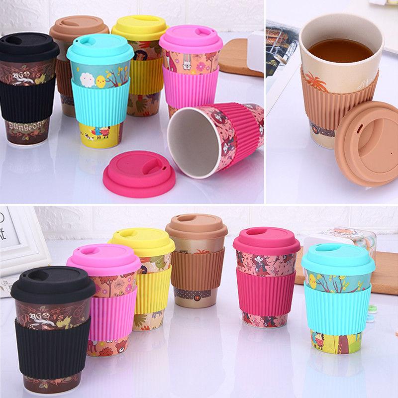Design de mode Réutilisable Fiber de Bambou Café Tasses Tasses Eco Friendly Voyage Café Lait Tasses Anti-brûlure Verres 10 oz 16 oz