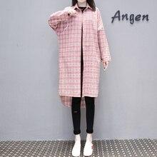 Cotton Long Sleeve Shirt Women 2019 Spring Summer Plus Size 4XL Plaid Long Shirt Female Big Size Low-high Design Ladies Tops