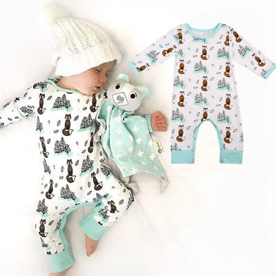 0-24M Newborn Infant Baby Boy Girl   Romper   Fox Cotton Long Sleeve   Romper   Jumpsuit Clothes Outfits
