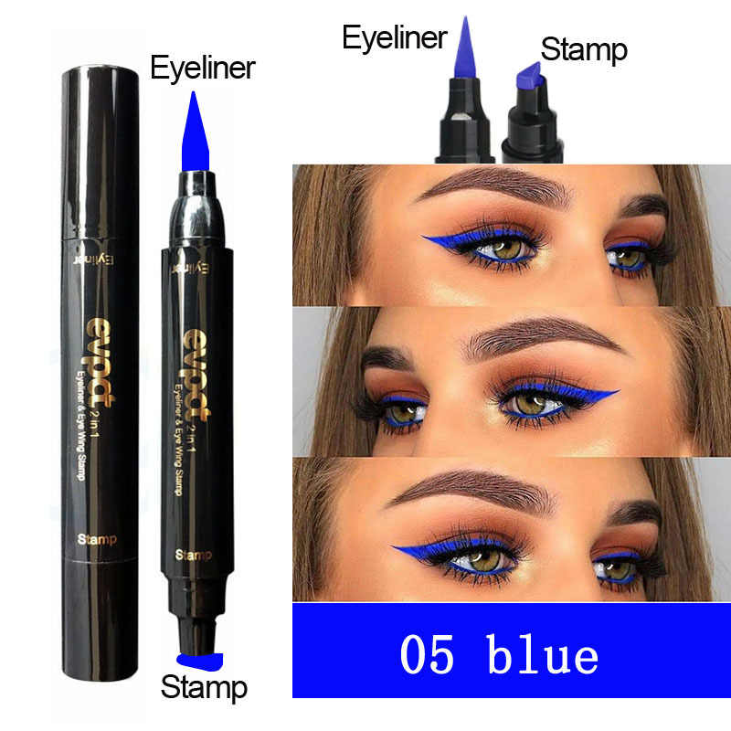 Evpct  2 In1 Liquid Glitter Eyeliner Stamp Thin Wing Seal Makeup Black Eye Liner Pencil 7 Color Blue Brown Smoky Eyes TSLM1