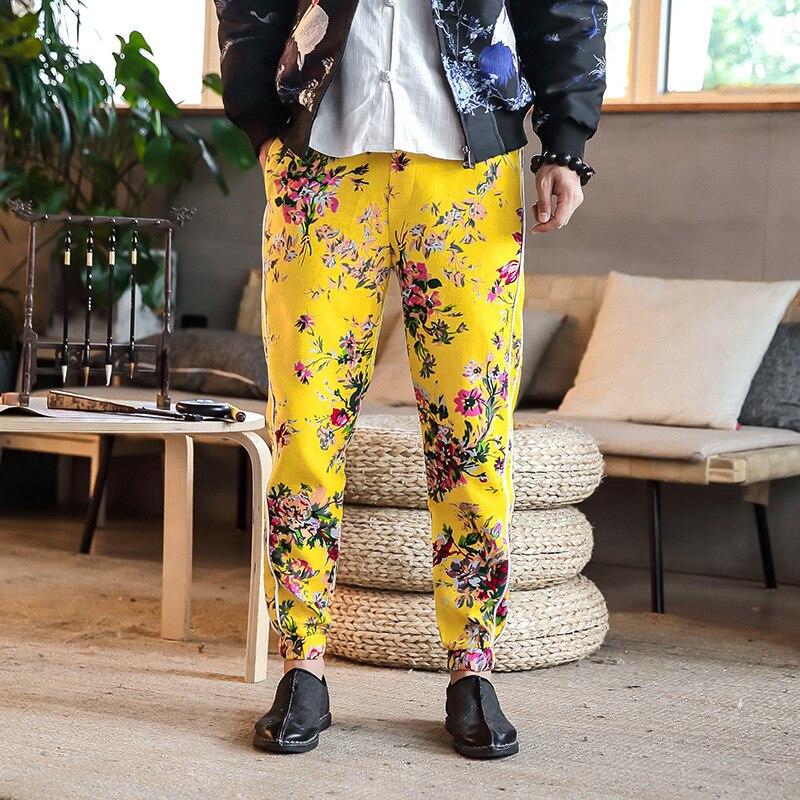 #4551 Frühling 2019 Floral Print Vintage Elastische Taille Plus Größe Harem Hosen Männer Mode Japanischen Streetwear Schweiß Hosen Retro 5xl