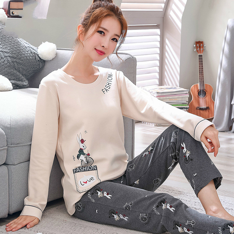 2019 Sleep Lounge Pajama Long Sleeve Top + Long Pant Woman Pajama Set Cartoon Pyjamas Cotton Sleepwear For Women M L XL XXL XXXL Lahore