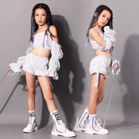 New Jazz Dance Children Performance Costume Sequins HipHop Stage Wear Dance Costumes Jazzy Dance Wear 110 160cm