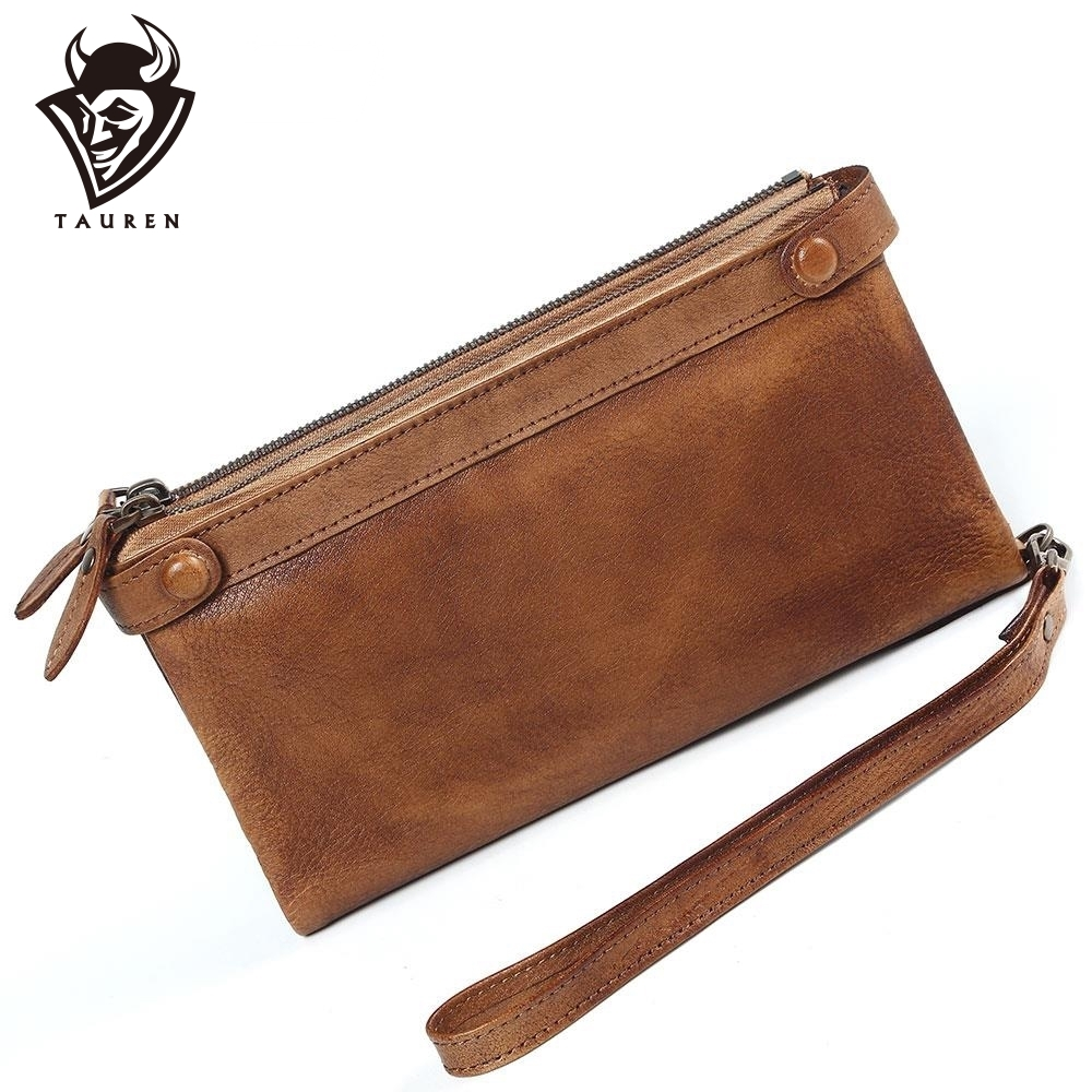 Women Brush Retro High Capacity Ladies Purse Long Vintage Leather Clutch Painting Wallet Zipper Coin Wallet