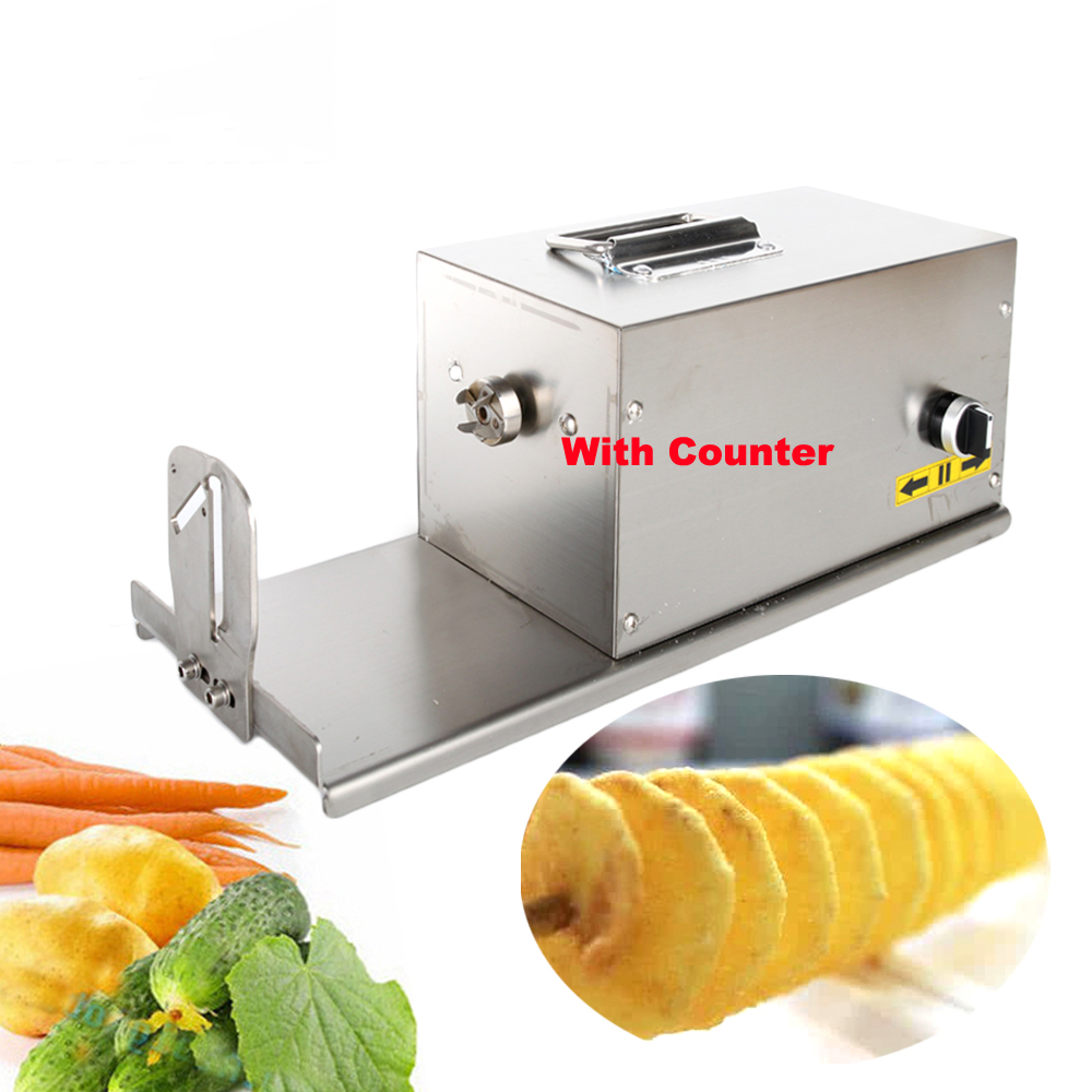 Commercial Electric Potato Spiral Cutter Potato Slicer With Counter Vegetable Fruit Cutter Spiral Diy Twisted Potato Machine