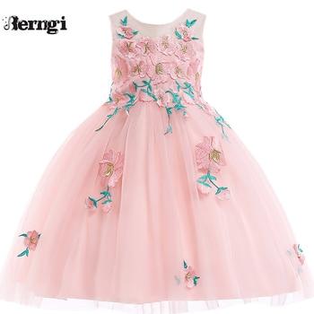 f12c25c69144 Berngi marca niños niña verano sin mangas bordado 3D flor princesa vestido  para niños graduación vestido boda 19 estilo 3- 10 años