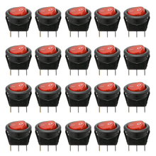 20pcs/set 12V 16A 19mm Hole Car Boat Red LED Round Dot Rocker Toggle Switch SPST ON/OFF Round Rocker Switch free shipping 20pcs lot 20mm opening round three legged illuminated red rocker switch kcd1 105 3 feet 2 files light