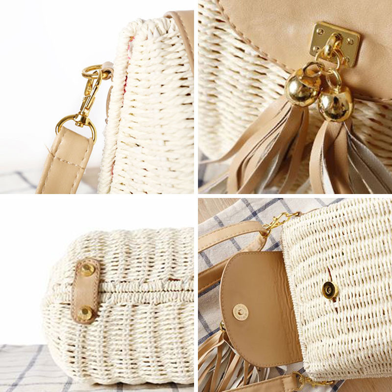 New Women Tassel Straw Bags Bohemian Female Vintage Rattan Knitted Handbag Summer Beach Lady Casual Weave Shoulder Bag Ss3161 in Shoulder Bags from Luggage Bags