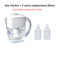3.5L BPA free pH 8 to 10 Low Orp Alkaline Water Filter Pitcher Ionizer Including 3 Replacement Filters