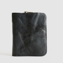 Original handmade retro mens short leather wallet vertical casual bag small
