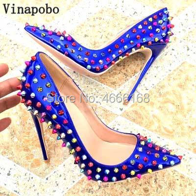 Blue Colorful Rivets Women Sexy Pointed Toe Pumps Stiletto High Heels Shoes Ladies Patent Leather Luxury