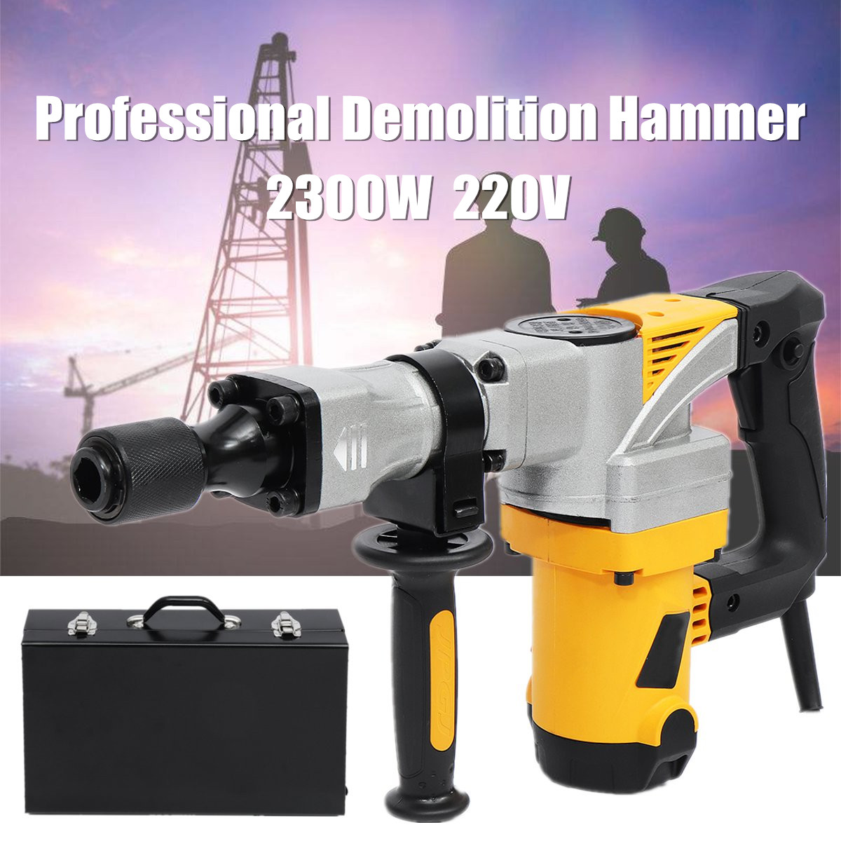 Impact Demolition Hammer 2300W Professional Electric Hammer Concrete Drill Breaker Industrial Power Tools Kit Slotting Machine