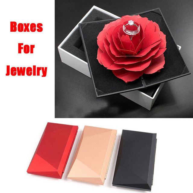 Us 3 72 5 Off Foldable Rose Ring Box For Women 2019 Creative Jewel Storage Paper Case Small Gift Box For Rings In Jewelry Packaging Display From