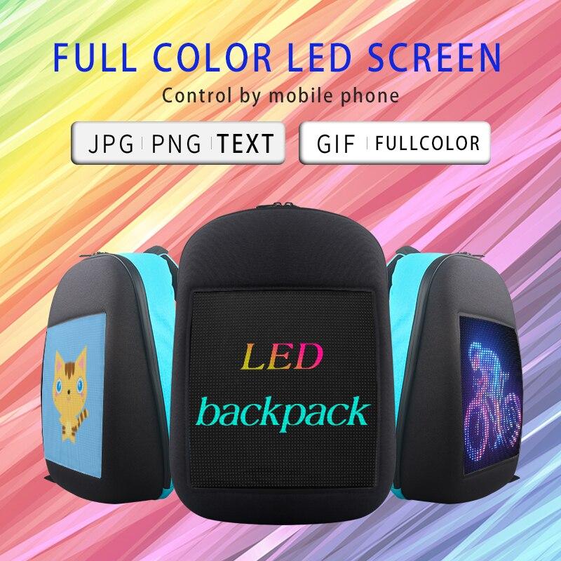 Écran LED dynamique publicité sac à dos bricolage wifi LED ville marche publicité sac pour ordinateur portable lumière