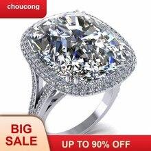 511119730432 Choucong de lujo gran anillo cojín de corte 8ct 5A Zircon Cz de la plata  esterlina 925 compromiso boda banda anillos para las mu.