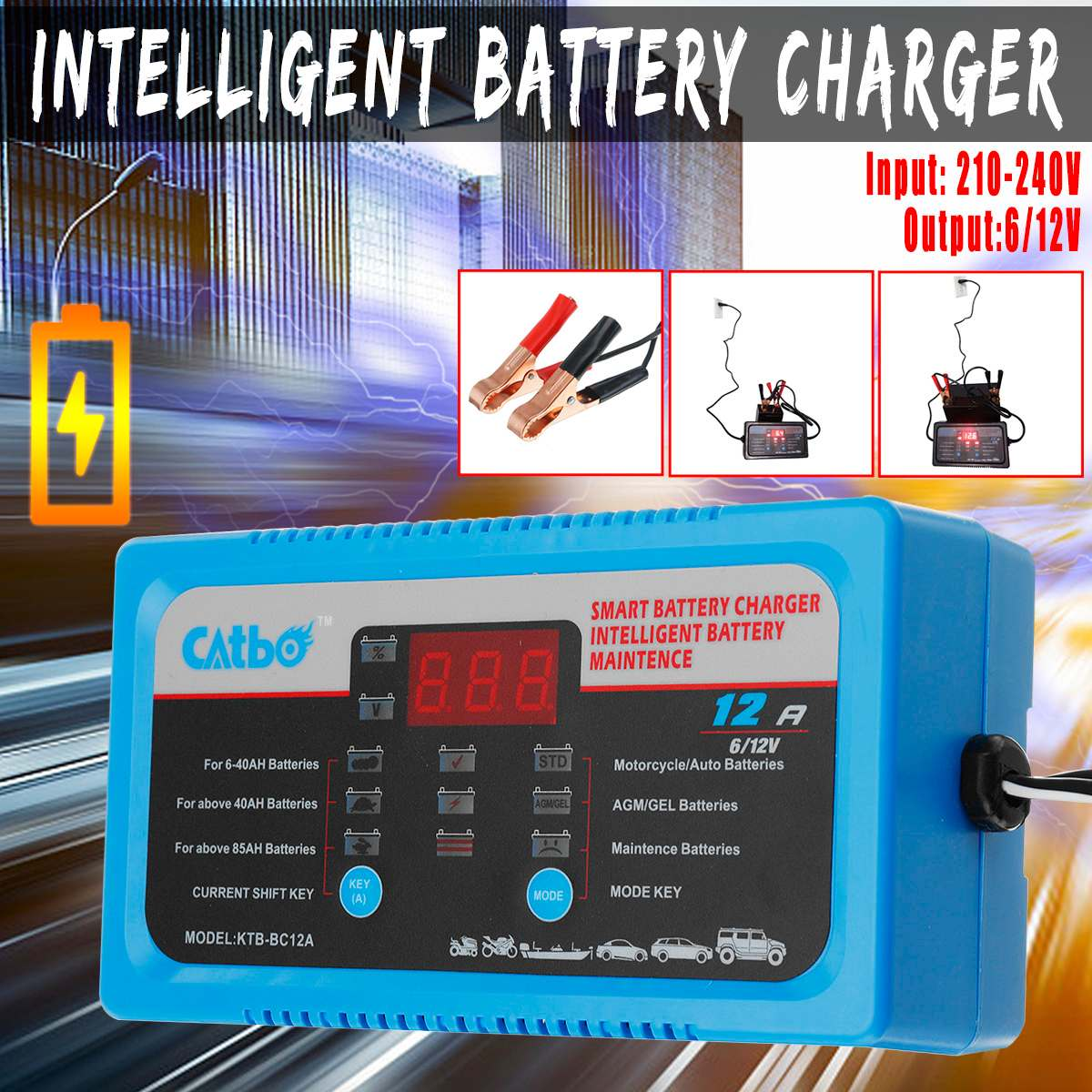 6V 12V EU/UK/AU Plug <font><b>Car</b></font> <font><b>Battery</b></font> <font><b>Charger</b></font> Full Automatic Intelligent <font><b>Trickle</b></font> Fast Van Charging 6V/12V Lead Acid <font><b>Battery</b></font> LCD image