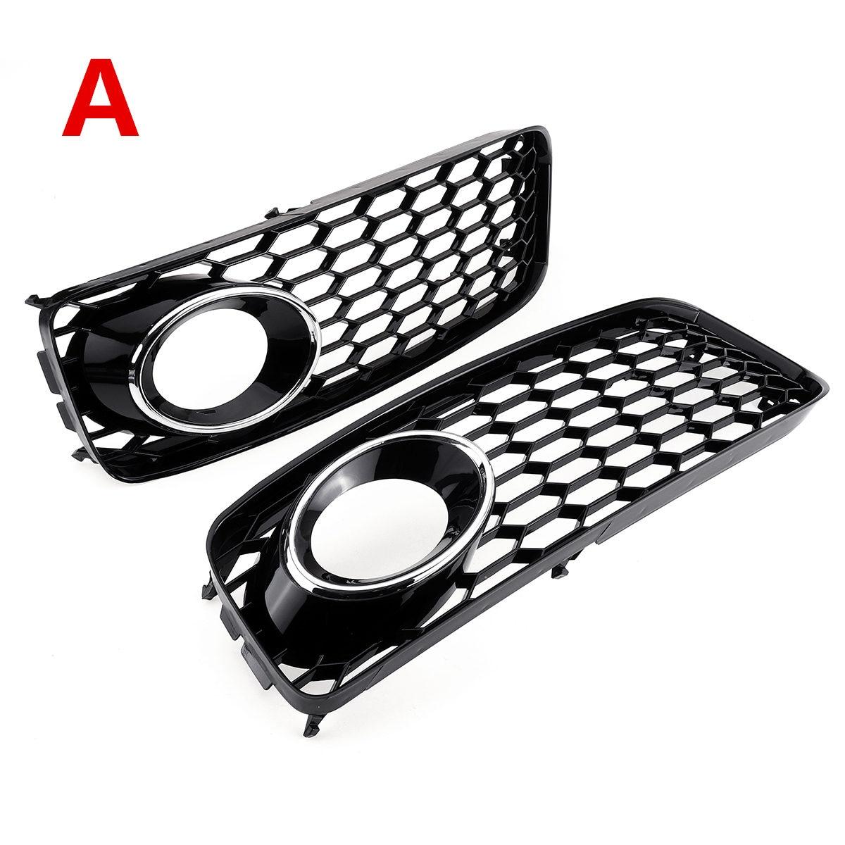 1 par de luces antiniebla negras/cromadas plateadas para coche cubierta de malla de nido de abeja rejilla hexagonal para Audi A5 s-line/S5 B8 RS5 2008-2012