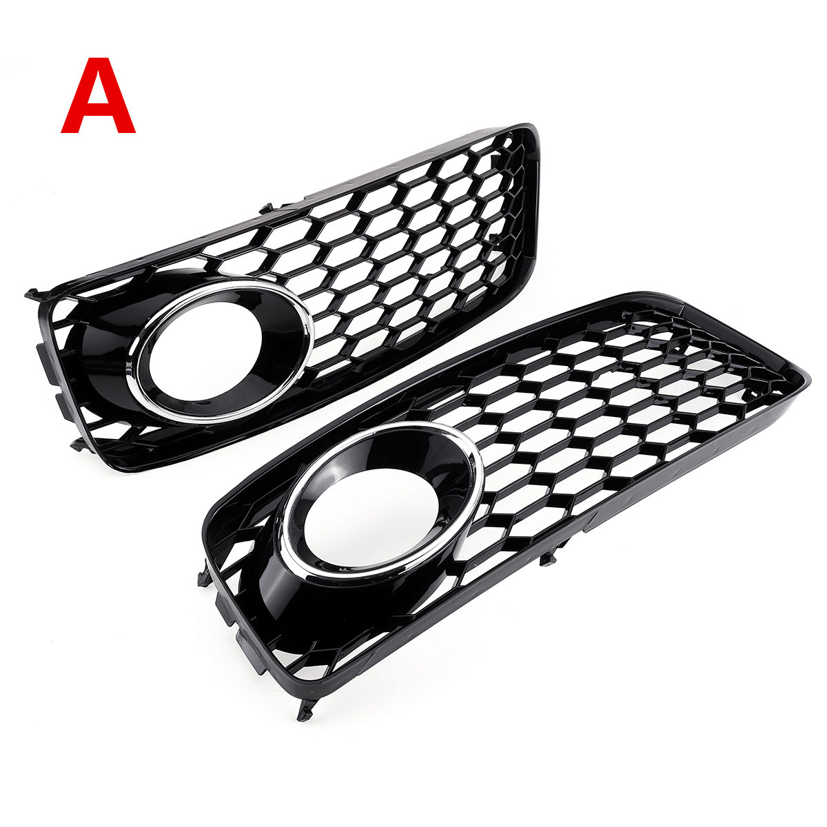 Black/Chrome Silver 1Pair Car Fog Light Lamp Cover Honeycomb Mesh Hex Front Grille Grill For Audi A5 S-Line/S5 B8 RS5 2008-2012
