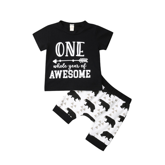 Fashion Newborn Boy Summer Clothes Infant Baby 1st Birthday Outfits Short Sleeve One Year Tops Bear Print Shorts 2Pcs 0 24M