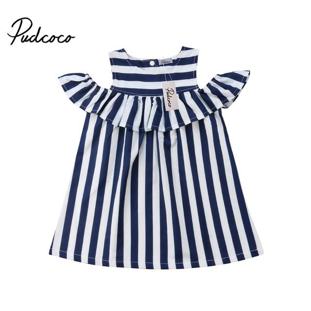 a5c49da83 Summer Infant Baby Girl Kid Off Shoulder Blue White Stripes Ruffle ...