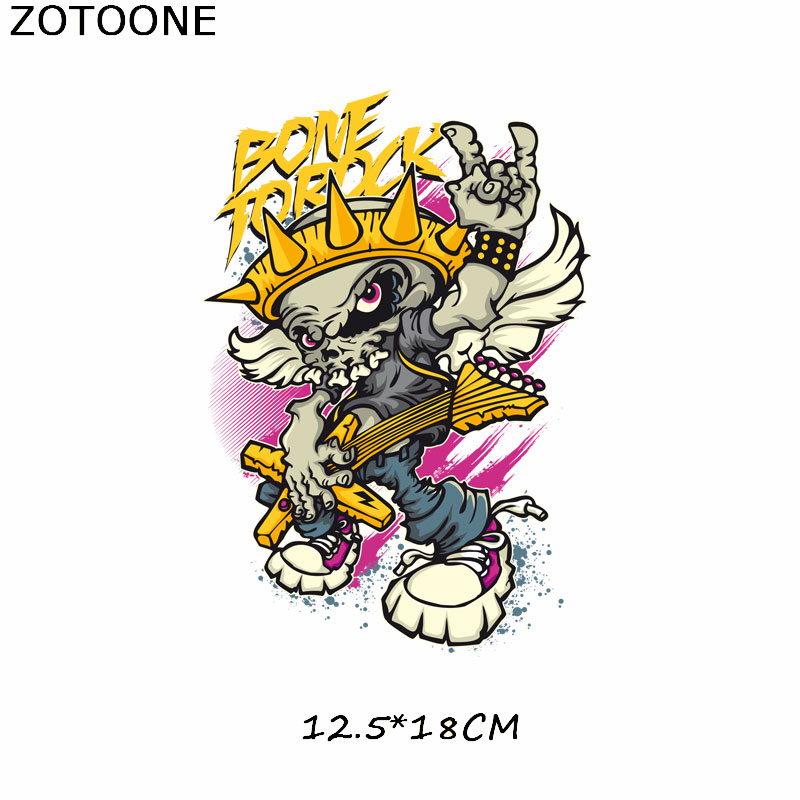 ZOTOONE Letter Skull Patch Iron on Transfers For Clothes T shirt Punk Patch Stickers DIY Heat Transfer Vinyl Thermal Press E in Patches from Home Garden