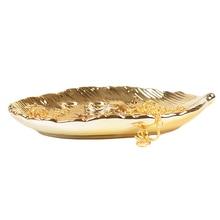 Organizer Jewelry-Plate Dressing-Table Ceramic Home-Decoration Desktop Handmade Golden-Leaf