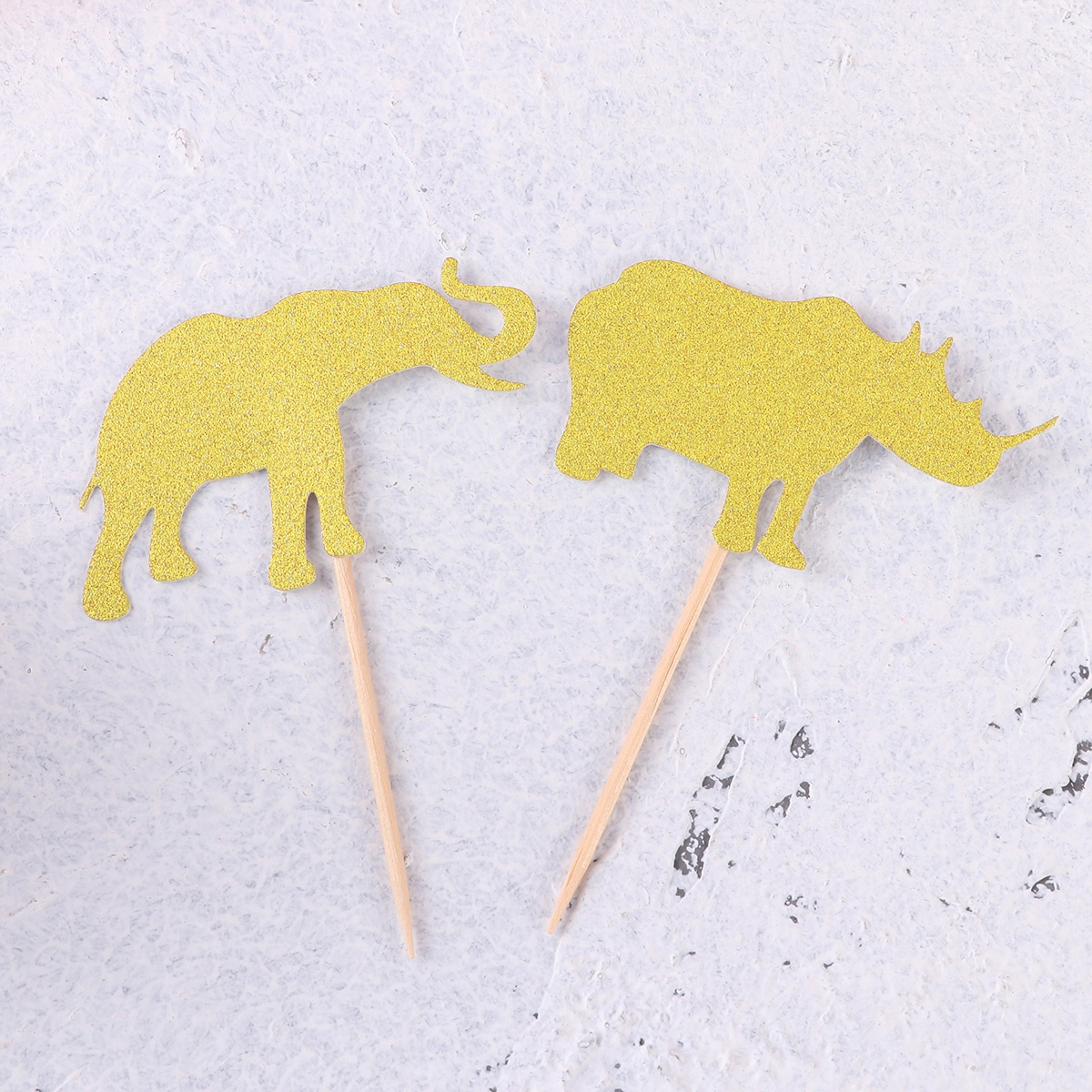 Image 5 - 10pcs Cake Topper Glitter Jungle Animals Golden Cupcake Toppers Dessert Topper Insert Card Fruit Topper For Birthday-in Cake Decorating Supplies from Home & Garden