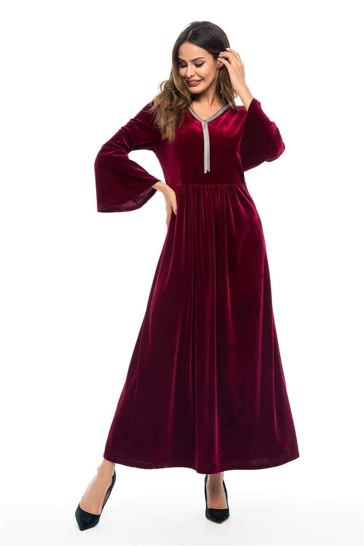 Новые женские бархатные Длинные вечерние платья с расклешенными рукавами мусульманское исламское платье-кафтан с v-образным вырезом элегантное женское платье Арабские платья длиной до щиколотки