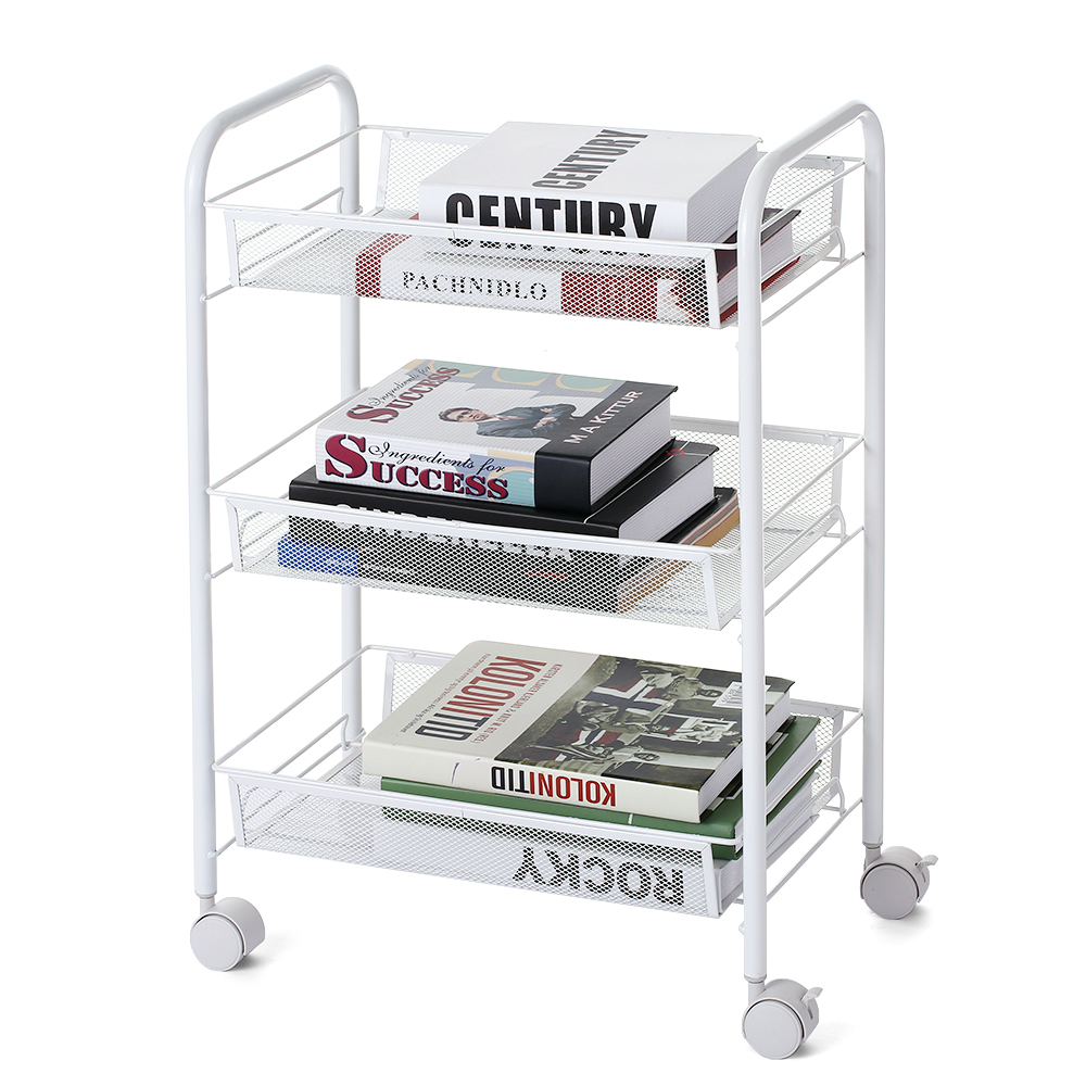3 Tier Storage Rack Mesh Wire Rolling Cart Kitchen Storage Rack Bedroom Bathroom Living Storage Rack