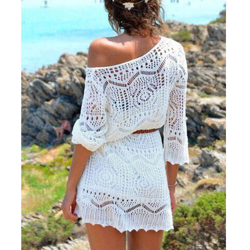 2019 Summer Sexy Lace Crochet Beach Dress Women White See Through Swimwear Swimsuit Cover Up Mini Dress
