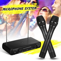 Dual Professional VHF Wireless Microphone System Cordless Handheld Mic Receiver Microphones Karaoke with 2 Microphones