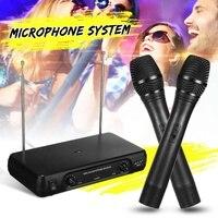 Duplo profissional vhf sem fio microfone sistema sem fio microfone handheld microfone receptor microfones karaoke com 2 microfones|Microfones| |  -