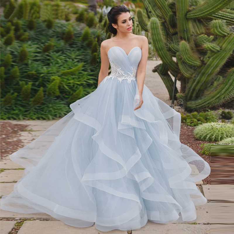 Blue Wedding Dresses 2019 New Lace Appliques Lace Up Bride Dress Sweetheart Neck Organza Ball Gown Wedding Party Dress