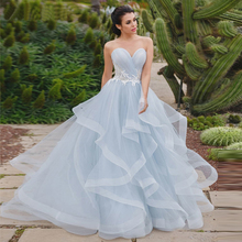 Blue Wedding Dresses 2019 New Lace Appliques Up Bride Dress Sweetheart Neck Organza Ball Gown Party