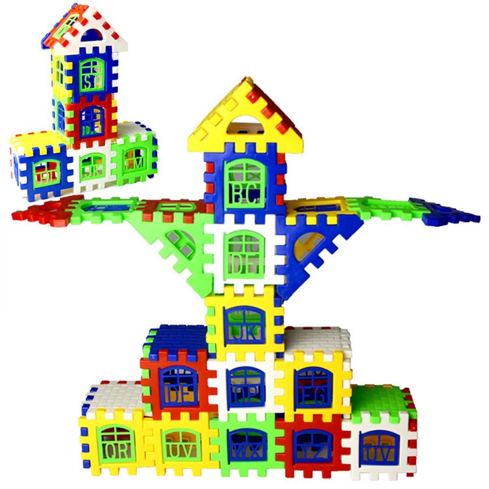 €2.78 15% de réduction|24 pcs/lot bébé paradis maison orthographe Puzzle  blocs en plastique ville bricolage modèle créatif chiffres éducatifs  enfants ...