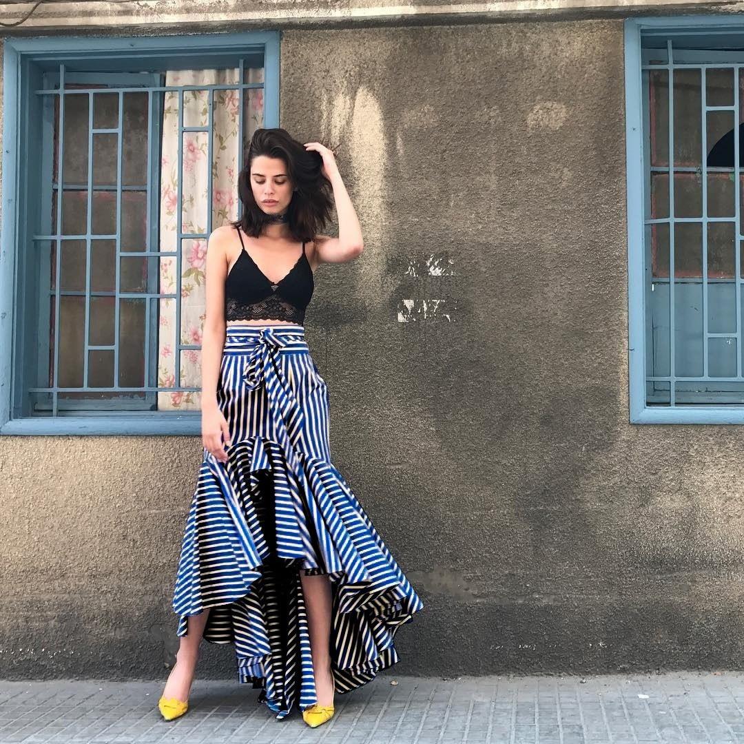 Women Ruffle Long Skirt Blue Striped Irregular High Waist Asymmetrical Skirts Boho Bow Tie Sashes Beach Skirts