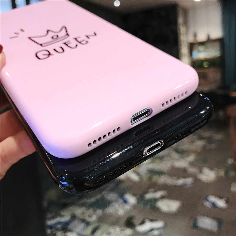 Coroa Para o iphone 6 6 Ottwn s 7 8 Plus Caso de Telefone de Silicone Para o iphone X XR XS Max Carta casos TPU Macio Back Cover Coque da Rainha do rei