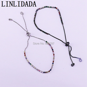 Image 4 - 20Pcs Charm Micro Pave Multi color Cz Zircon Adjustable Link Chain Bracelet For Jewelry Making