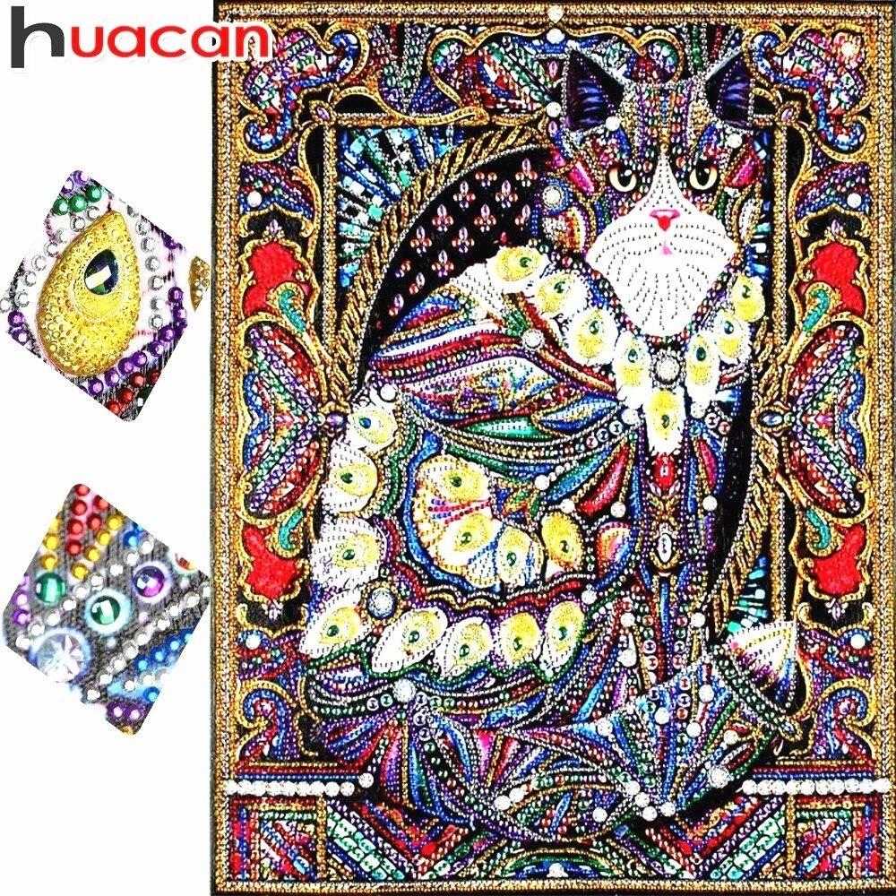Huacan Speciale A Forma di Diamante Pittura Cat Animal Fai Da Te Diamante Ricamo Complementi Arredo Casa Parziale Rotonda Punta di Diamante Mosaico 40x50 cm