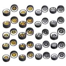 1:64 Alloy Wheels Tire Set Axles Vehicle Wheels Tire Modified Alloy Car Refit Wheels For 1/64 Vehicle Car Model 4pcs/box
