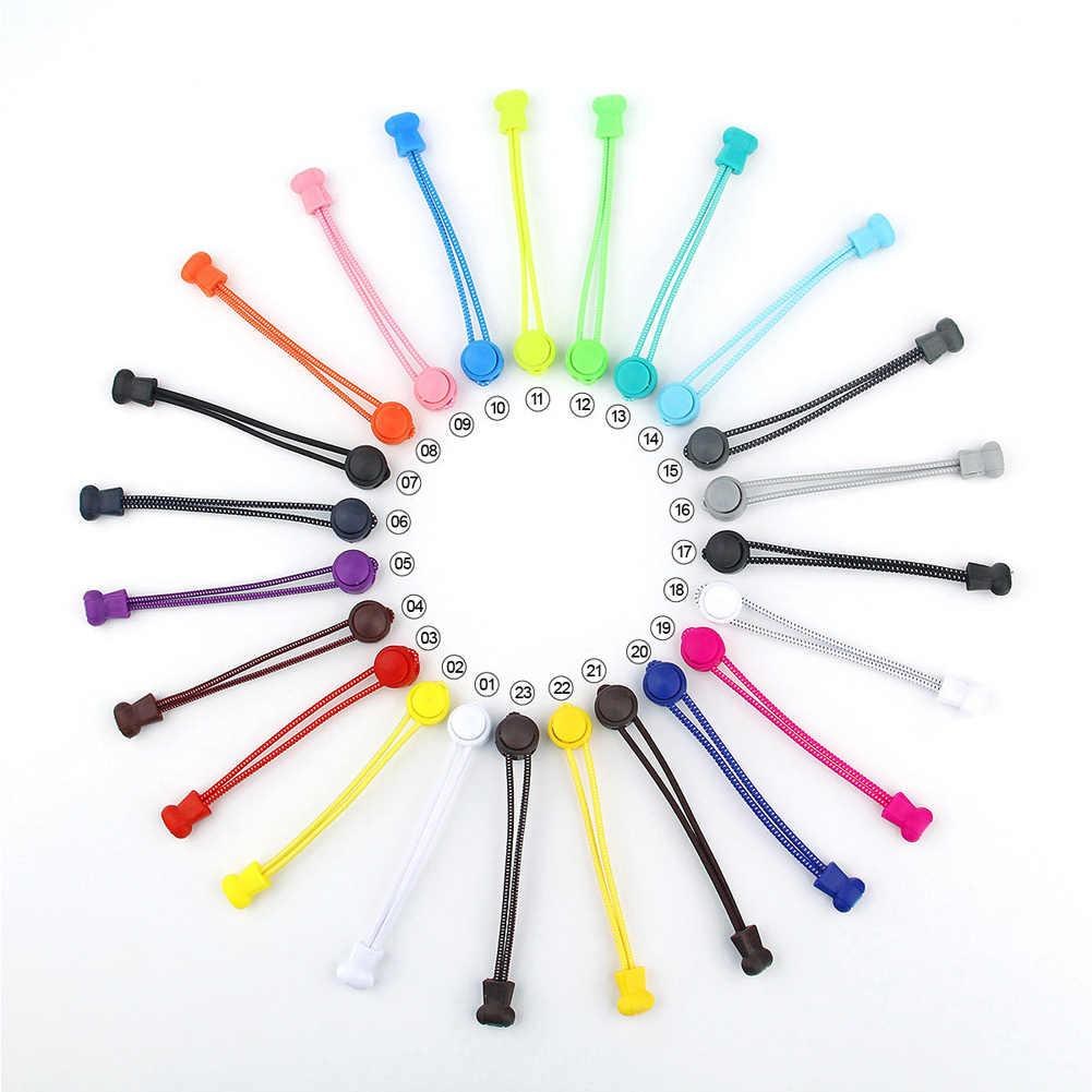 1 adet Unisex Yuvarlak Lateks Hiçbir Tie Kilitleme Ayakkabı Bağcıkları Yeni Çok Renkli Kadın erkek Tembel Elastik ayakkabı Bağcıkları Sordones Zapato