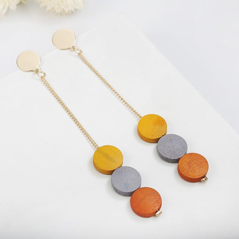 Sale Simple Round Drop Earring For Women Long Tassel Fashion Wood Earrings Jewelry 2019 in Drop Earrings from Jewelry Accessories