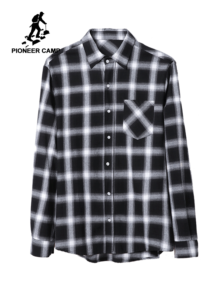 Pioneer Camp 100% Cotton Plaid Men Shirt Long Sleeve Casual 2019 Spring Autumn Checked Shirts For Men