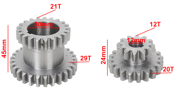 2pcs High&low Metal Transmission gear T29xT21&T20xT12 SIEG C2&C3 Metal Lathe Main shaft duplicate double gear