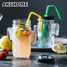 Originality Cactus Glass Cup Monolayer Juice Milk Breakfast Bring Cover Promotion Gift