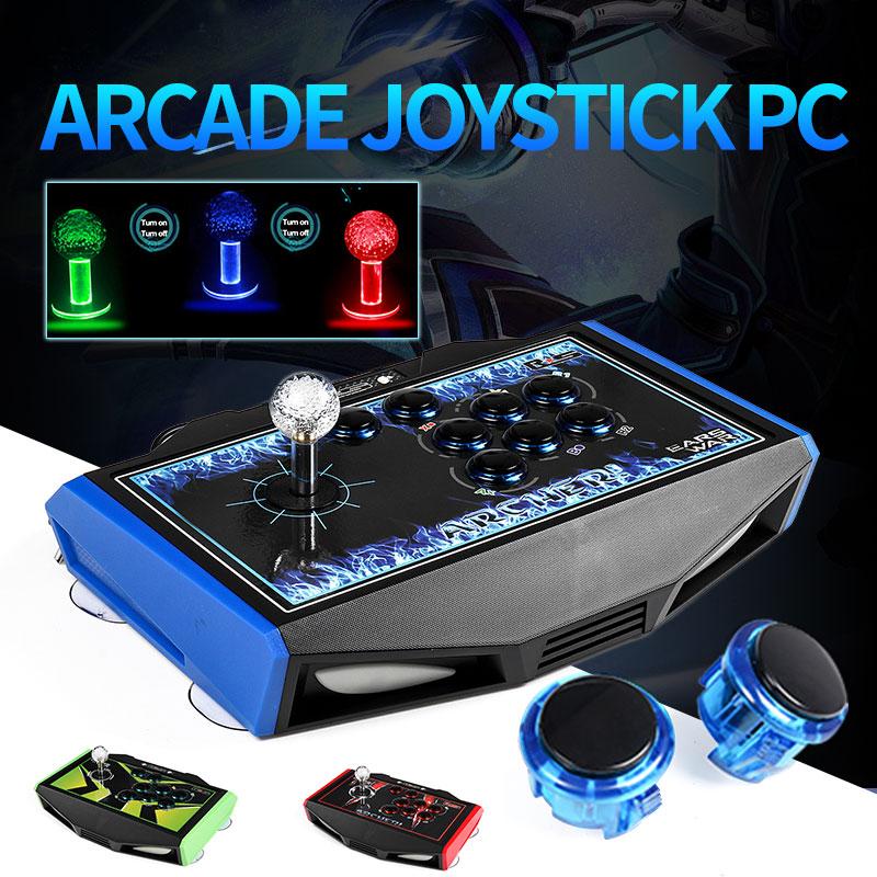 RS led Joystick arcade 8 Boutons USB bâton de combat Joystick Gaming Controller Gamepad jeu vidéo Pour PC manette de commande