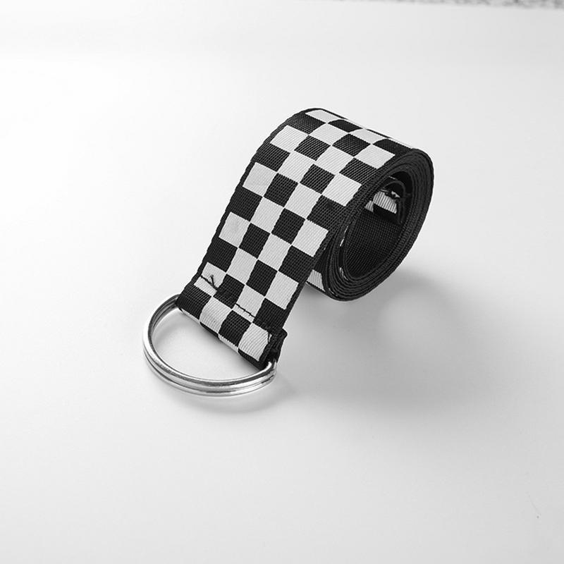 135cm Women's Checkerboard Belt Canvas Waist Belts Cummerbunds Waistband Casual Checkered Black White Plaid Belt