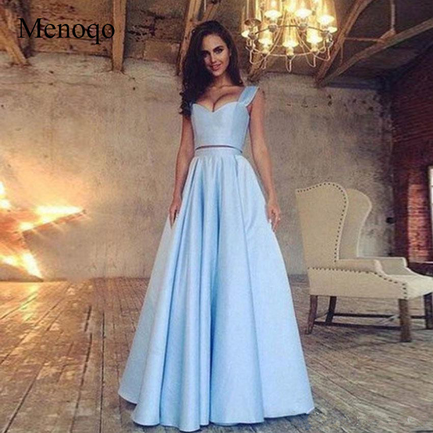 Menoqo Simple 2 Piece Satin   Prom     Dresses   Sweetheart Summer Beach Party gown Light Sky Blue Black Homecoming   Dresses