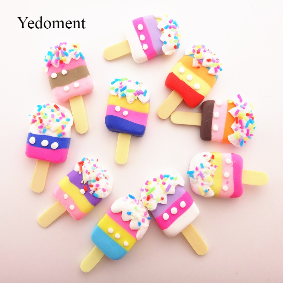 10pcs/lot  17*34MM Mix Colors Kawaii Soft Clay Rainbow Ice Cream Cabochons Handmade Resin Material DIY Hair Bow Decorative
